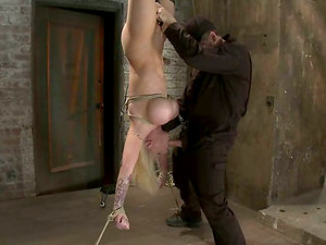 Hatch Fucking Candy Manson as she Strings up Upside Down in Restrain bondage Session