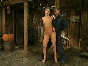 Playful dark haired chick asks her master for more agony