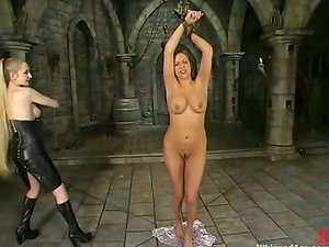 Nice brown-haired gets whipped and then drilled with a belt dick