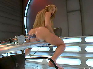 Amy Brooke gets triple penetrated by a fucking machine and loves it