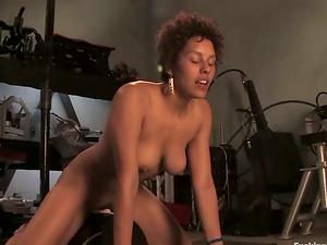 Jaxxa Nova gets fucked rear end style by a lovemaking machine