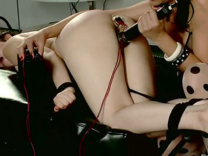 Ultra-cute Female with Two Braidings Getting Predominated and Toyed in Lez Vid