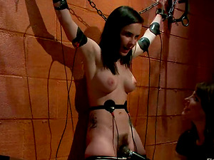 Chained Brown-haired Katie St Ives Gets Her Hairy Cootchie Toyed by Bobbi Starr