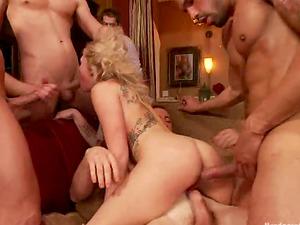 Nasty Blonde Zoey Monroe Getting Five Schlongs in All Fuck-holes in Gang-bang