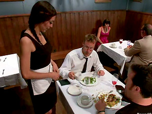 Sexy dark-haired waitress gets gang-fucked by her customers