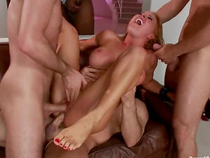 Blonde chick with big knockers gets spanked and group-fucked