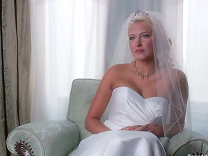 Blonde nymph in wedding sundress get tied up and group-fucked