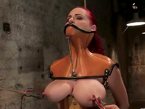 Ginger-haired damsel with big breasts gets tormented and wired