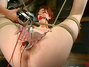 Electrical and Clothespin Torment for Ginger-haired Justine Joli in Girl/girl Bondage & discipline