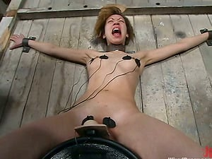 Pleasure Torment by Sybian saddle for Obedient Woman in Lezzy Female domination