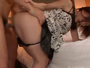 Kinky Japanese honey gets a flow of jizm in her mouth