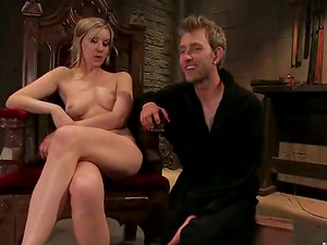 Gorgeous blonde mistress stuffs dude's donk with a belt cock