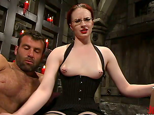 Kinky Claire Adams ties a fellow up and abases him