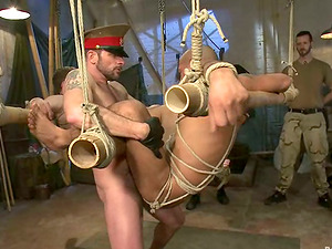 Two obedient fags get tied and savagely fucked by thier pals