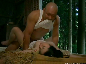Japanese country lady gets fucked by an older man in a shed