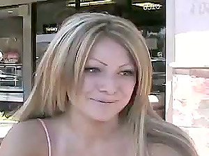 Epic Blow-job by Naked Light-haired Latina Cougar on Her Knees