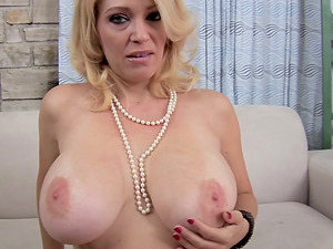 Amazing blonde Cougar with big melons deep-throats a dick