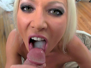 Sexy blondie Cougar Diana Doll milks a dick dry into her mouth