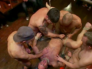 Fabio Stallone gets fucked by a group of horny faggots and likes it