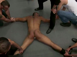 Spencer Reed gets corded and fucked by a few homos in Bondage & discipline scene