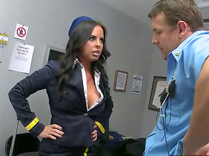 Sexy black-haired stewardess gets fucked by a security boy