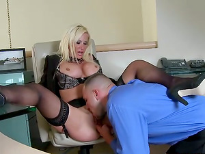 Blonde chick in stockings gets pounded by her manager