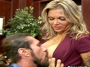 Buxom blonde Ana Nova blows and gets her crevices smashed