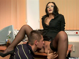 Sexy office lady is railing her customer's massive dick