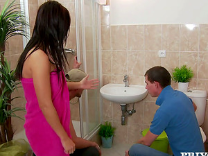 Smoking hot dark-haired gets fucked by the plumber team