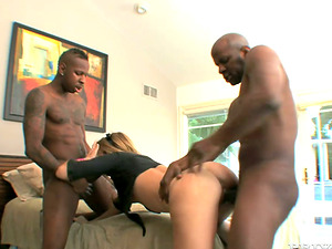 Petite Milky female gets pounded by two big Black dudes
