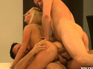 Sexy Carla Cox inhales two dicks and get dual penetrated