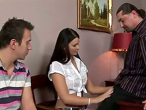 Jasmine Luna Gold gets her crevasses pounded and creampied in a threesome