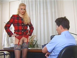 Sexy ash-blonde office manager gets fucked by a postman