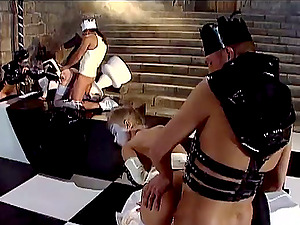 Hot chicks in spandex and corsets get bootie fucked rough