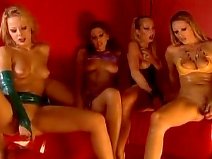 Four horny lesbos love frolicking each other's vulvas indoors
