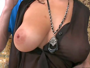 Nice dark haired rails big dick and gets jizzed on her big hooters