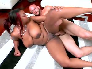 Interracial movie with dark-hued woman with big natural tits