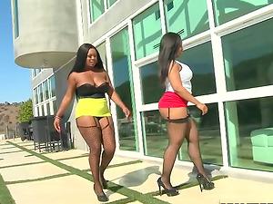 Two curvy black chicks in interracial threesome movie